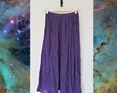 Deep purple semi sheer boho hippie maxi skirt / SMALL