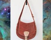 Brown Suede Leather Shoulder Bag Purse
