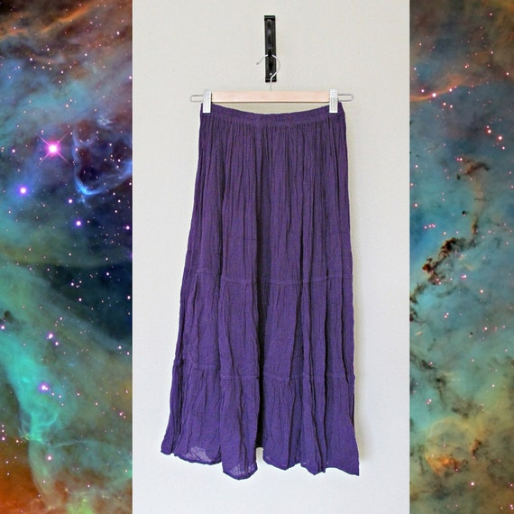 Deep purple semi sheer boho hippie maxi skirt / SMALL