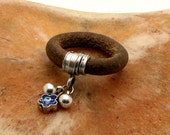 FREE SHIPPING .Women's leather ring. Black or natural leather, good luck ring with  silver plated beads,spacer with evil eye.