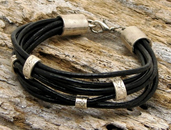 FREE SHIPPING Women's leather bracelet. Multi strap black leather bracelet with silver plated beads,spacers and clasp.