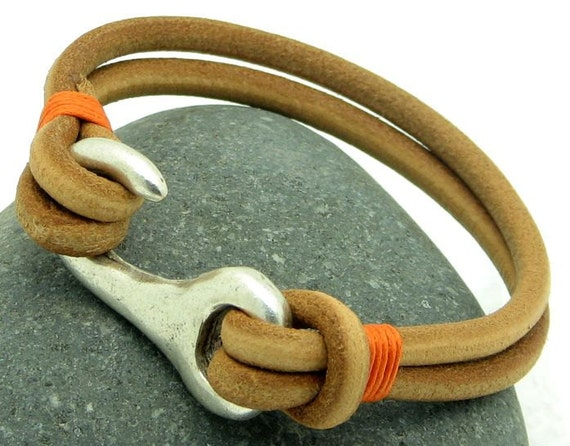 FREE SHIPPING .Men's leather bracelet .  Multi strand handmade natural leather bracelet with silver plated hook clasp
