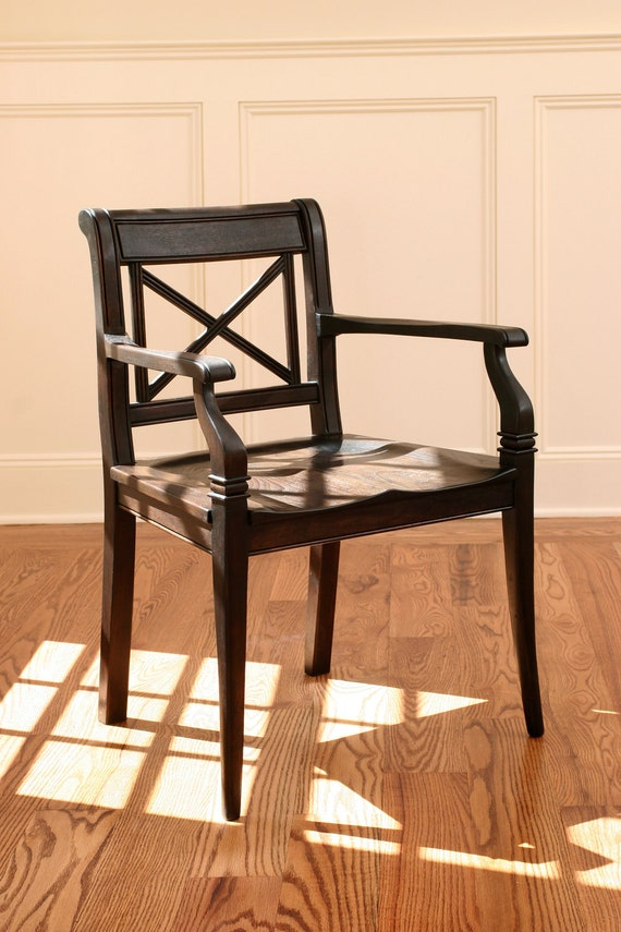 Handcarved Dining Arm Chair with Wooden Seat  Black Walnut