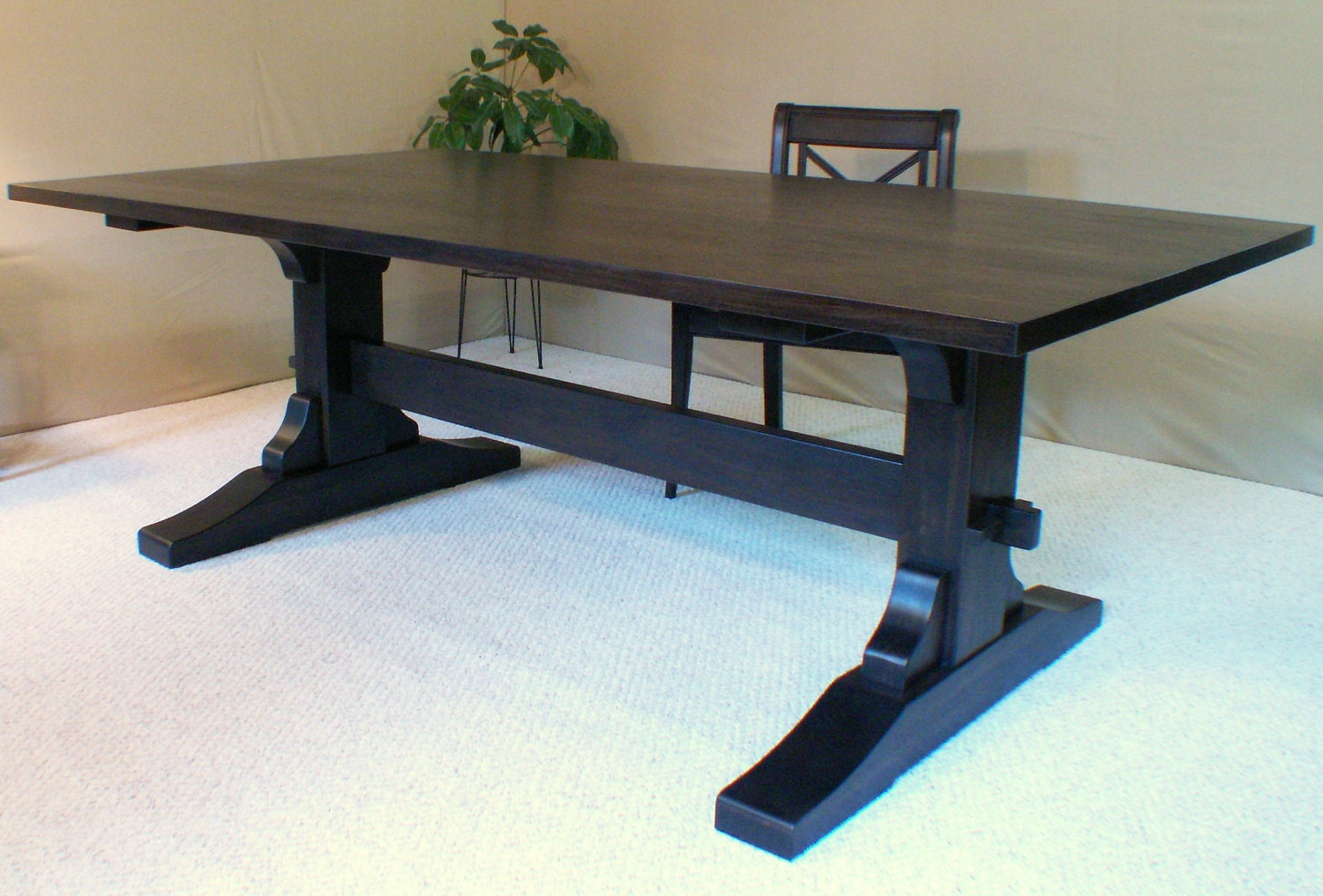 Wood dining table trestle table black walnut made in vermont for Large dark wood dining table