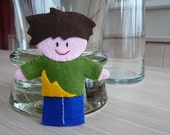 Boy Finger Puppet - charity & shipping promo