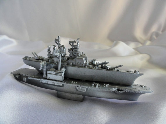 Pair of die cast metal Navy ships, much details, pencil sharpeners on bottom, unique