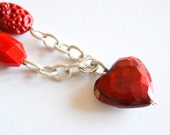 Necklace red heart, coral and silver - Love love love Red
