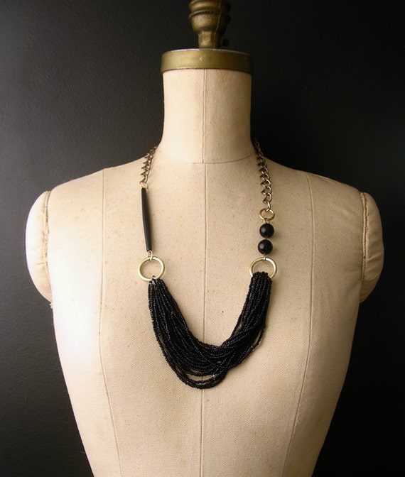 modern statement necklace - the no. 003 - black -multi strand seed beads