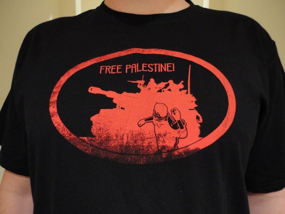 SALE!!! radical Political Tshirt-Free Palestine-soldarity- men's size XXL occupy