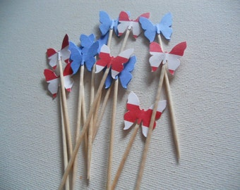 Butterfly Red, White, And Blue Food Picks Cupcake Toppers (24) 741276