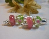 Pink Roses Pandora Style Earrings
