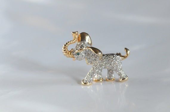 Elephant Brooch in Gold and Silver Tones and Decorated with Rhinestones