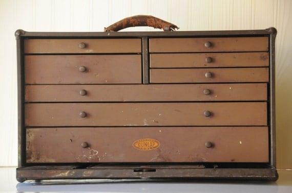 Vintage Machinist Cabinet Dunlap Tool Box Carpenters