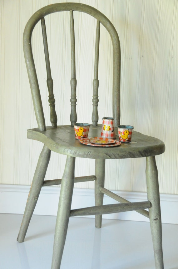Chair Vintage Childs Chair Antique BentwoodRustic Green Wooden Childs Chair