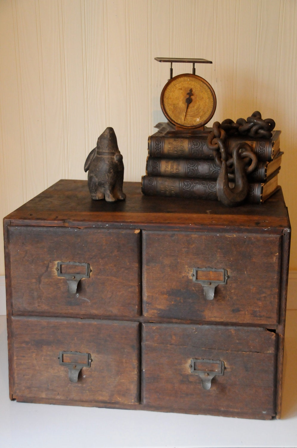 Antique wood drawers library card catalogue