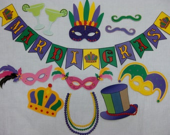 PDF - Mardi Gras photo booth props/decorations/craft - printable DIY