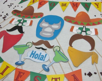 PDF -  Cinco de Mayo photo booth props/decorations/craft - printable DIY