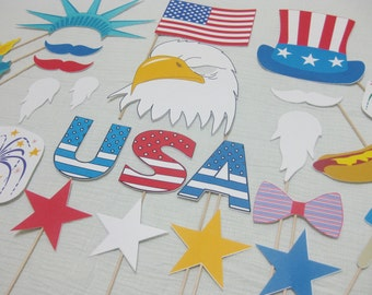 PDF -  Patriotic / 4th of July / Memorial Day photo booth props / decorations / craft - printable DIY