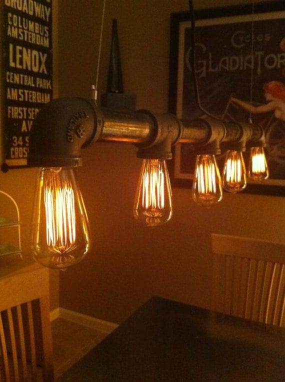 Items Similar To Industrial Vintage Look 5 Light Edison Bulb Iron Pipe Ch
