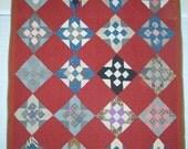 Red 9-Patch Variation Vintage Quilt