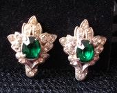 ROMANTIC GREEN Earrings 1930s Green Paste Clear Rhinestones Wedding Hollywod Regency By Mississippi Delta Treasures