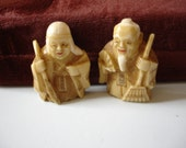 VINTAGE Netsuke Brooches Antique   Old Couple Pair Ivory Japanese Oriental Asian Hand Carved