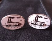 STEAMBOAT CUFF LINKS  Enamel Silver Mens Accessory Wedding......by Mississippi Delta Treasures
