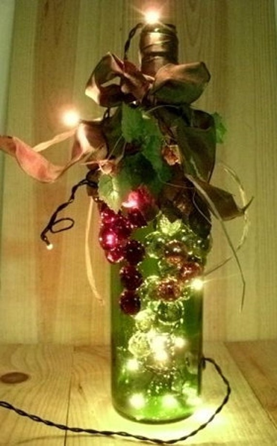 Hand Decorated Wine Bottle With Rice Mini Lights Night Light