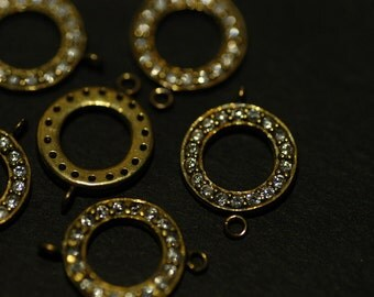 2 Pcs Vintage Brass Circle Connector with Cubic Zirconia