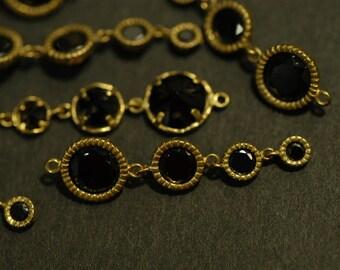 2 Pcs Vintage Brass link charm Pendant with Black Cubic Zirconia