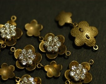 2 Pcs Vintage Brass Flower Charms with 2mm White Round Cubic Zirconia