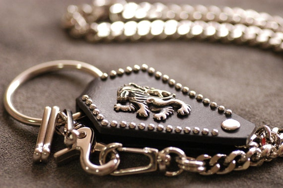 Lion Nickel-plated iron/Genuine leather wallet chain 25.2in