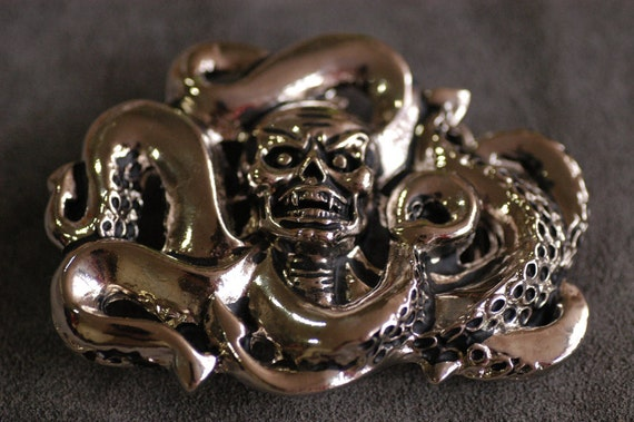 "Skull octopus Nickel plated pewter Belt Buckle 3.5""x2.5""(in)"
