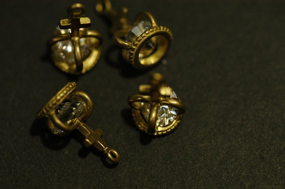 4 Pcs Vintage Cross Crown Charms with Cubic Zirconia