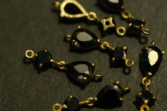 2 Pcs Vintage Brass linked Connector charms with Black Pear shaped & Round Cubic Zirconia