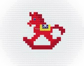 Mini RED Rocking Horse, Alone or Border, Easy and little Cross Stitch PDF Pattern, Baby Boy and Girl