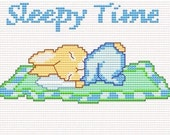 Tiny, SLEEPY BUNNY on a blanket, Easy and little Cross Stitch PDF Pattern, Baby Boy and Girl