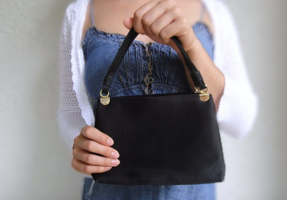 Vintage Formal Black Satin Handbag