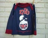 Blue and Red 1776 Opera Upcycled Long Sleeve T-Shirt,  3T