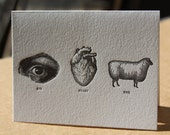 Letterpress eye heart ewe - WishboneLetterpress