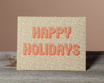 Happy Holidays, crazy festive pattern letterpress card, Set of 6