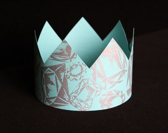 Letterpress Turquoise Party Crown