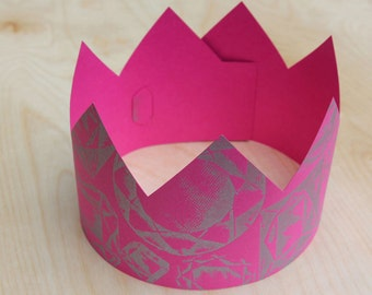 Letterpress Pink Jewel Party Crown