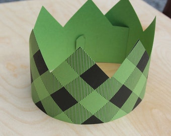 Green Plaid Letterpress Party Crown