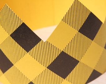 Letterpress Yellow Plaid Party Crown