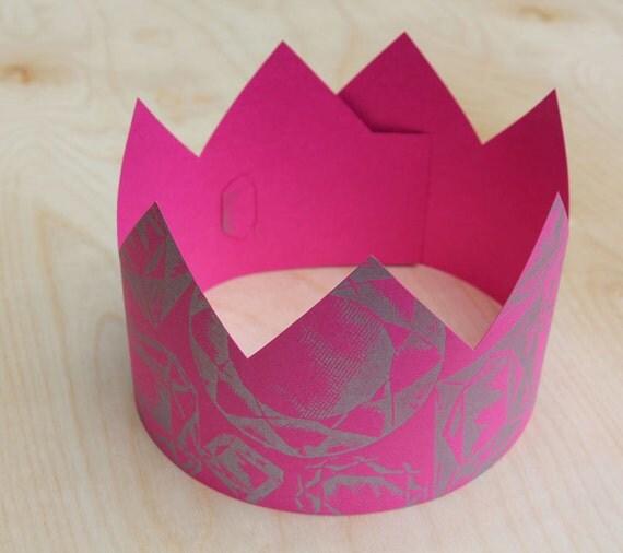 Letterpress Pink Jewel Party Crown