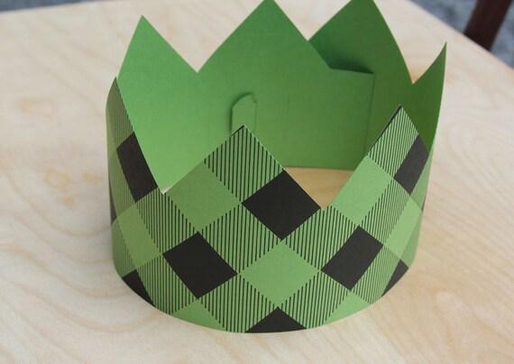Green Plaid Letterpress Party Crown