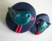 Polymer clay hand made little bird studs
