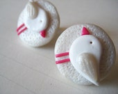 Bird studs white pearl polymer clay hand made