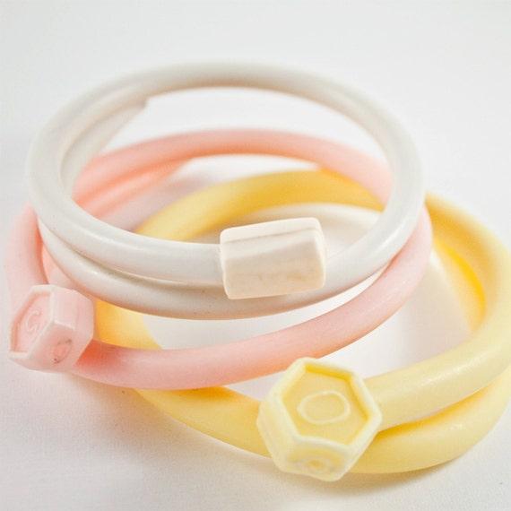 Repurposed Knitting Needle Bracelet Trio of Peachy Tones